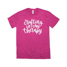Load image into Gallery viewer, Crafting is my Therapy -- Berry Triblend Bella Canvas Crewneck Tee - Southern Crush