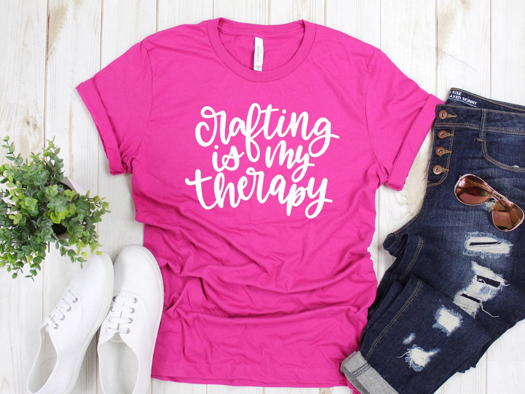 Crafting is my Therapy -- Berry Triblend Bella Canvas Crewneck Tee - Southern Crush