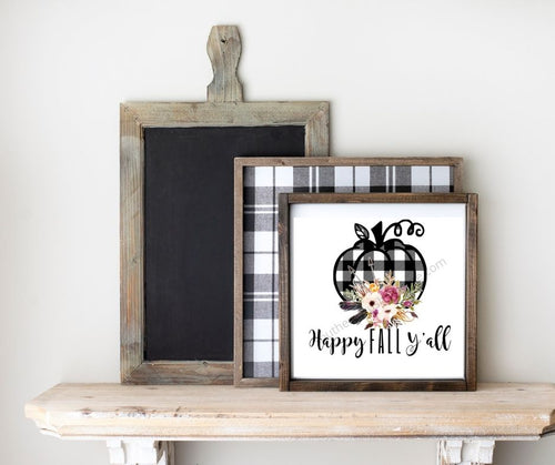 Black and White Buffalo Check Pumpkin Printable Happy Fall Y'all - Southern Crush