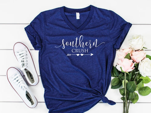 Southern Crush Logo -- Navy Bella Canvas V-neck Tee - Southern Crush