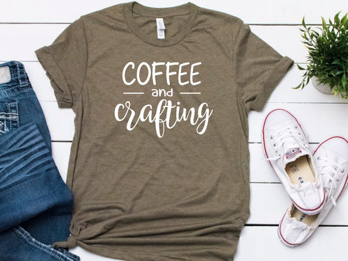 Coffee and Crafting -- Army Green Bella Canvas Crewneck Tee - Southern Crush