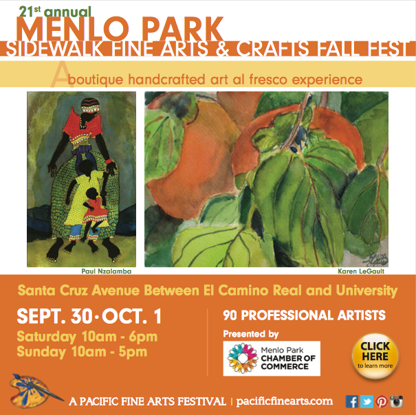 Menlo Park Sidewalk Fine Arts & Crafts Fall Fest this weekend!