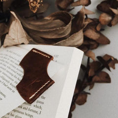 camel leather bookmark corner - photo by @crimeofrhyme