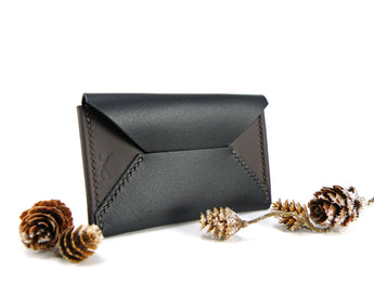 ENVELOPE-STYLE LEATHER CARD WALLET (black over dark chocolate brown) Slim Card Wallet - KAMEL