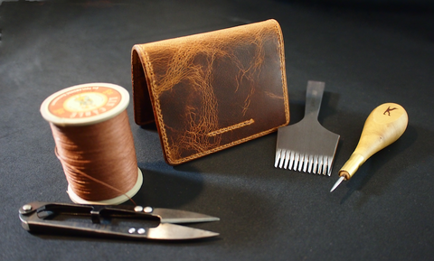 HORIZ Flip Wallet - a handmade camel leather card wallet
