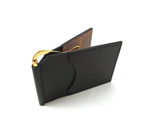 Money Clip Wallet - a handmade camel leather wallet (black over brown) Money Clip Wallet - KAMEL