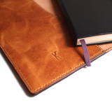 "5"" x 8.25"" Moleskine Notebook Cover - Large size (camel leather, fully lined) Notebook cover - KAMEL"
