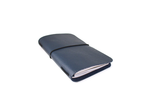 VOYAGER Work/Travel Leather Notebook Cover (Dark Sapphire Blue camel leather) Notebook cover - KAMEL