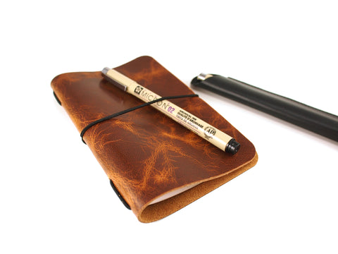VOYAGER Work/Travel Leather Notebook Cover in Burnt Sugar Notebook cover - KAMEL