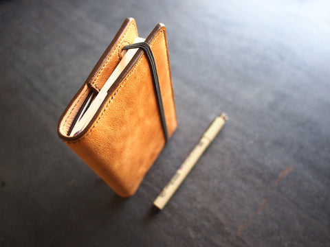 "3.5"" x 5.5"" Moleskine Notebook Cover - Pocket size (camel leather, fully lined) Bifold Wallet - KAMEL"
