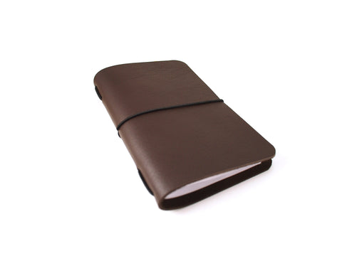 VOYAGER Work/Travel Leather Notebook Cover in Seal Brown Lux Notebook cover - KAMEL