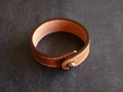 Leather Bracelet - handstitched & fully lined Leather Accessory - KAMEL