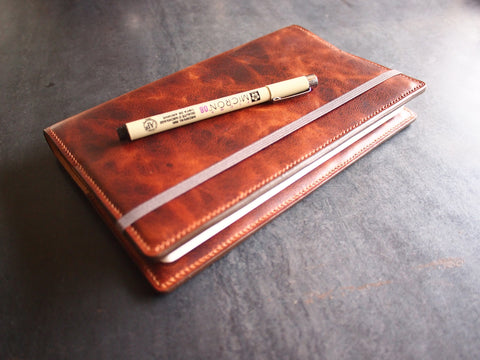 "5"" x 8.25"" Moleskine Notebook Cover - Large size (camel leather, fully lined) Bifold Wallet - KAMEL"
