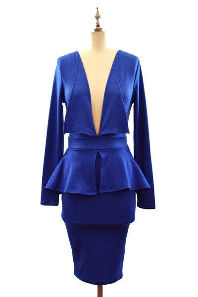 My Beautiful B - Open V Peplum Dress