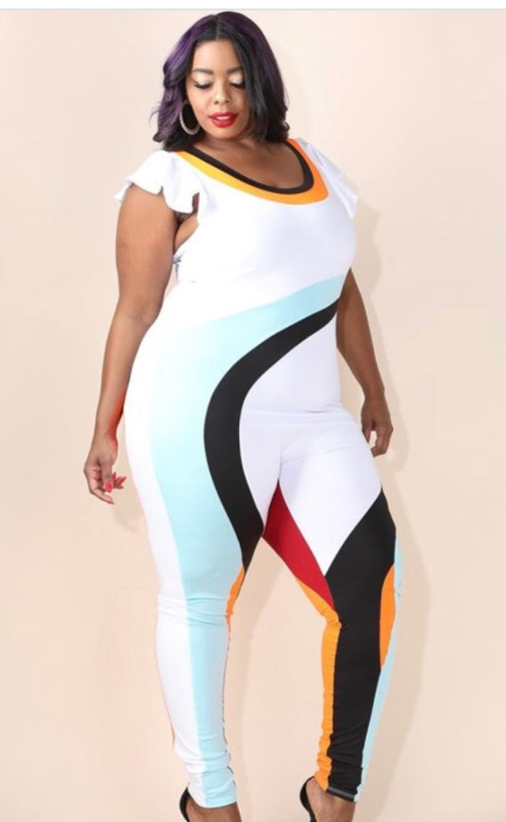 """Beware of the curves"" Color-block Jumpsuit"