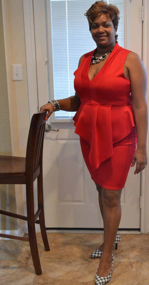 Love My Curves - Red Peplum Dress - Curvy Size