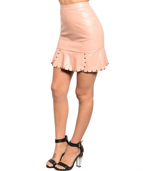 Blush Faux Leather Mini Skirt