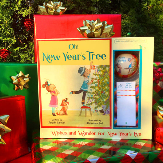 New years tree, O new years tree, Oh new years tree, Oh new year's tree, new year's tree, decorating kit for christmas tree into a new year tree, holiday children's book, ornament, wish holder ornament, wish lists, party hats, tree topper, the new years tree