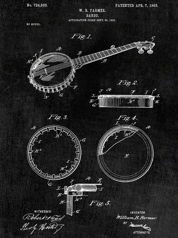 Folk Music Instruments Patent Print Set - Banjo Patent Art - Patent Print - Patent Poster - Office Art - Office Posters