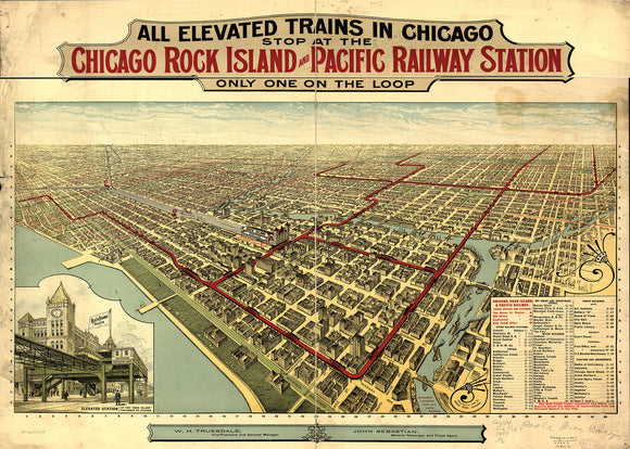 Vintage Chicago Rock Island Print, Aerial Chicago Photo, Vintage Chicago IL Pic, Old Chicago Photo, Chicago Illinois Poster, 1857
