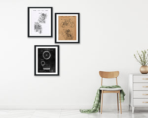 Bicycle Patent Print Set - Patent Art - Patent Print - Patent Poster - Office Art - Office Supplies