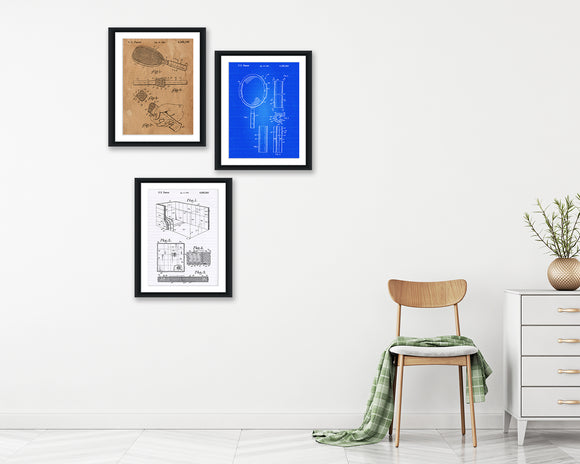Racquetball Patent Print Set - Patent Print - Patent Art - Patent Print - Patent Poster - Office Art - Office Supplies