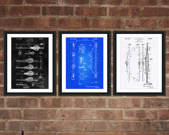 Archery Patent Print Set - Patent Art - Patent Print - Patent Poster - Office Art - Office Supplies