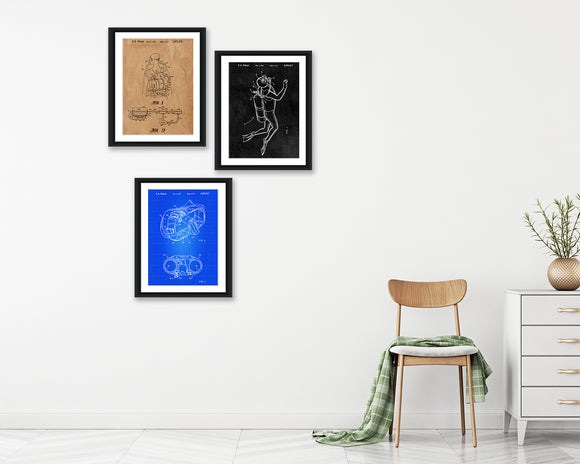 Scuba Patent Print Set - Patent Print - Patent Art - Patent Print - Patent Poster - Office Art - Office Supplies