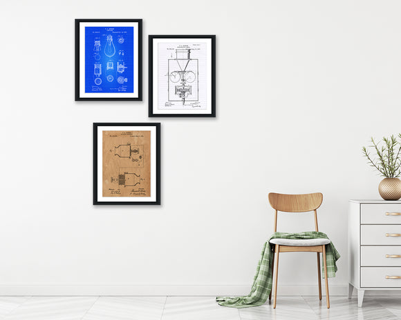 Thomas Edison Patent Print Set - Patent Print - Patent Art - Patent Print - Patent Poster - Office Art - Office Supplies