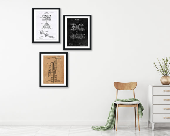 Train Patent Print Set - Patent Print - Patent Art - Patent Print - Patent Poster - Office Art - Office Supplies