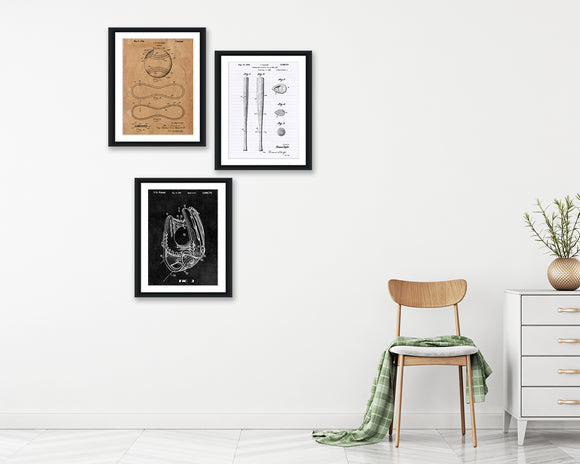 Baseball Patent Print Set - Patent Art - Patent Print - Patent Poster - Office Art - Office Supplies