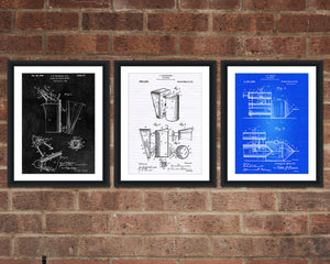 Beekeeping Tools Patent Print Set - Patent Art - Patent Print - Patent Poster - Office Art - Office Supplies