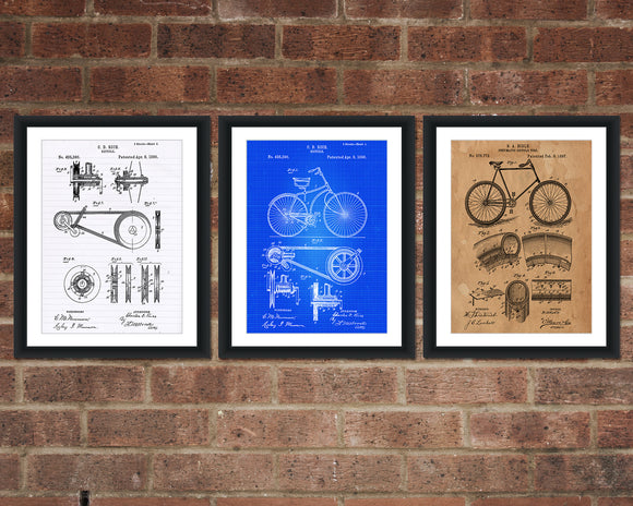 Bicycle Inventions Patent Print Set - Patent Art - Patent Print - Patent Poster - Office Art - Office Supplies