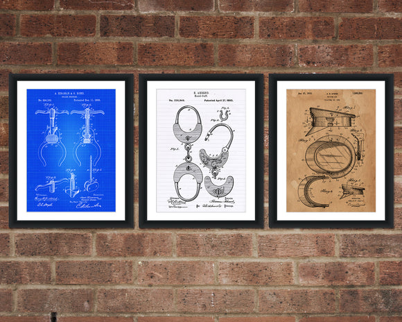 Police Patent Print Set - Police Officer Patent Print - Patent Art - Patent Print - Patent Poster - Office Art - Office Supplies