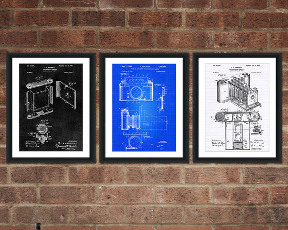Camera Patent Print Set - Kitchen Patent Art - Patent Print - Patent Poster - Office Art - Office Supplies