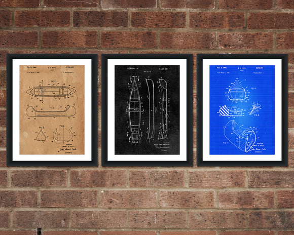 Canoe Patent Print Set - Patent Art - Patent Print - Patent Poster - Office Art - Office Supplies