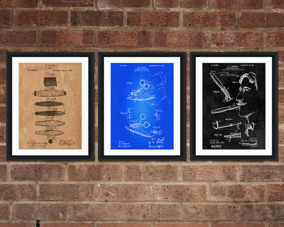 Cigar and Smoking Inventions Patent Print Set - Patent Art - Patent Print - Patent Poster - Office Art - Office Supplies