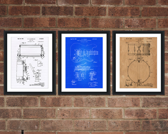 Rock and Roll Patent Print Set - Rock Music Patent Print - Patent Art - Patent Print - Patent Poster - Office Art - Office Supplies