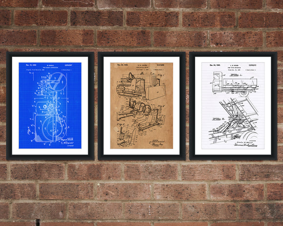 Construction Inventions Patent Print Set - Patent Art - Patent Print - Patent Poster - Office Art - Office Supplies