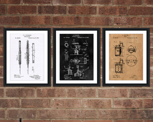 Dental Inventions Patent Print Set - Dentist Patent Art - Patent Print - Patent Poster - Office Art - Office Supplies