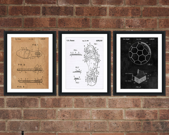 Soccer Patent Print Set - Patent Print - Patent Art - Patent Print - Patent Poster - Office Art - Office Supplies