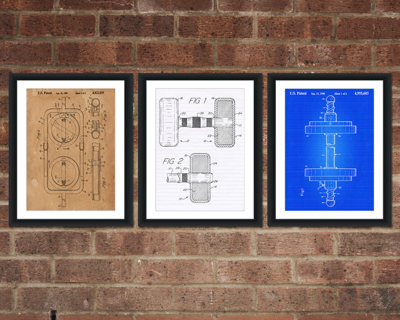 Dumbbell Patent Print Set - Gym Patent Art - Patent Print - Patent Poster - Office Art - Office Supplies