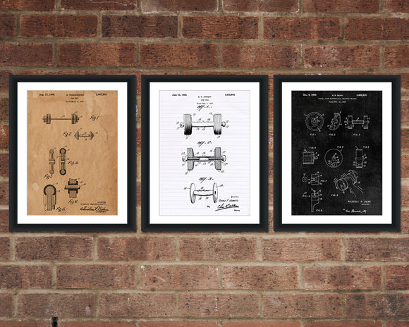 Dumbbell Patent Print Set - Gym Inventions Patent Art - Patent Print - Patent Poster - Office Art - Office Supplies