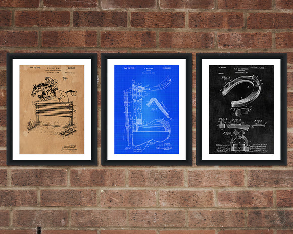 Equestrian Patent Print Set - Horse Patent Art - Patent Print - Patent Poster - Office Art - Office Supplies