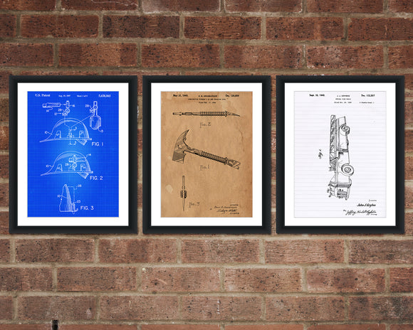 Firefighter Patent Print Set - Patent Art - Patent Print - Patent Poster - Office Art - Office Supplies