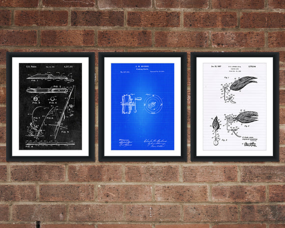 Fishing Patent Print Set - Patent Art - Patent Print - Patent Poster - Office Art - Office Supplies
