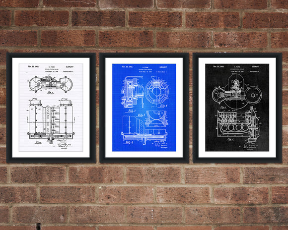 Ford Inventions Patent Print Set - Henry Ford Patent Art - Patent Print - Patent Poster - Office Art - Office Posters
