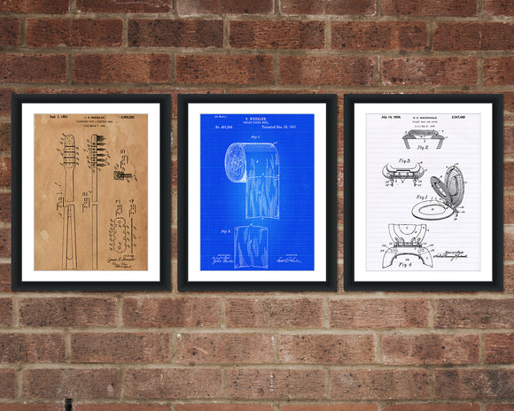 Bathroom Patent Print Set - Patent Art - Patent Print - Patent Poster - Office Art - Office Supplies