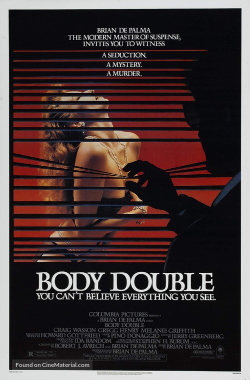 Body Double Poster//Body Double Movie Poster//Movie Poster//Poster Reprint
