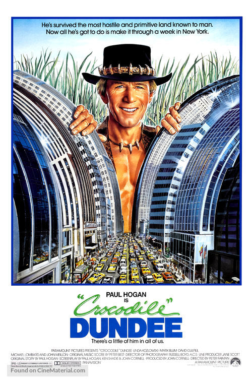 Crocodile Dundee Poster//Crocodile Dundee Movie Poster//Movie Poster//Poster Reprint